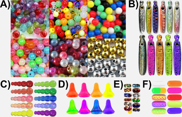 Spacers Used for Tying Spinner Harnesses. A) Round Smooth and Faceted Beads, B) Spacer Bodies, C) Stack Beads, D) Tee Beads, E) Wedding Ring Beads, F) Pill Floats